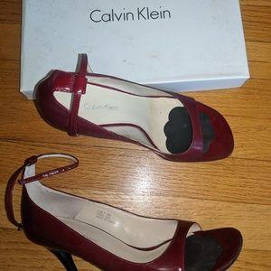 Red Calvin Klein peep-toe dress sandal